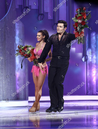 Sam Attwater and Vicky Ogden leave the show after skate off Dancing On Ice, Elstree, Britain