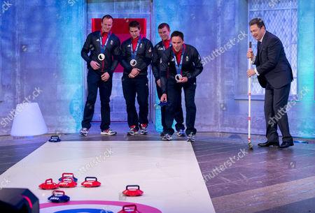 Presenter Alan Titchmarsh with Men's Olympian Curling Team GB - David Murdoch, Greg Drummond, Scott Andrews and Michael Goodfellow