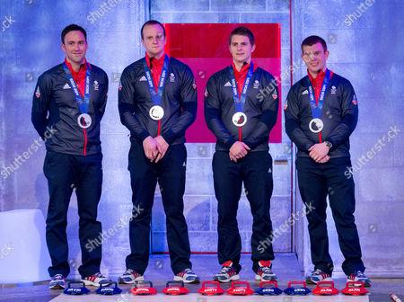 Stock Image of Men's Olympian Curling Team GB - David Murdoch, Greg Drummond, Scott Andrews and Michael Goodfellow