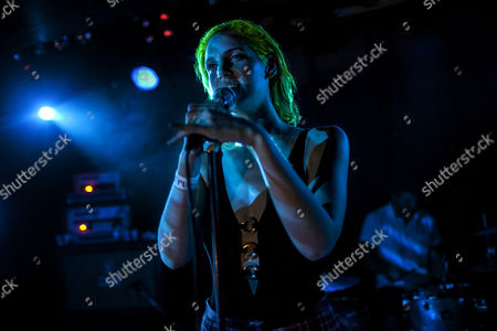 Stock Photo of Singer Lizzy Plapinger live on stage at a MS MR gig at the small Danish nightclub Rust in Copenahagen. Denmark 2013.