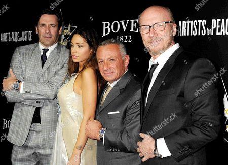 Stock Image of Jon Hamm, Sofia Valleri, Pascal Raffy and Paul Haggis