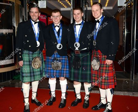 Stock Picture of Team GB Men's Curlers Silver Medallists - David Murdoch, Michael Goodfellow, Scott Andrews and Gregg Drummond
