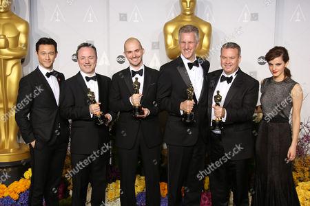 Josph Gordon-Levitt, Tim Webber, Chris Lawrence, David Shirk, Neil Corbould and Emma Watson