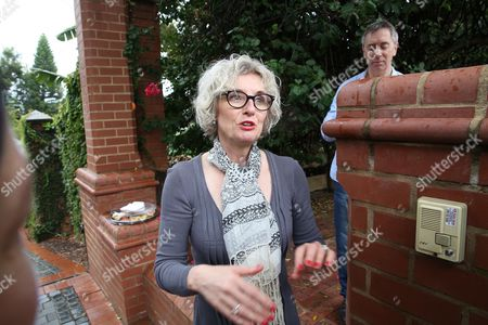 Lois Pistorius, Oscar's aunt, speaks to the media outside her home