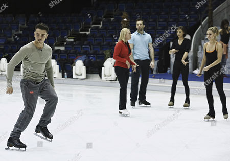 Ray Quinn rehearses his showcase choreography with skate partner, and pro skaters, Vicky Ogden, Sylvain Longchambon, Robin Johnstone and Andy Buchanan on his team.