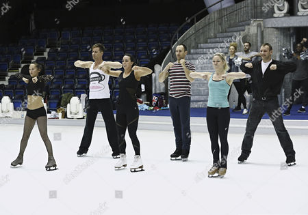 Stock Photo of Beth Tweddle rehearses her showcase routine with Pro skaters Frankie Poultney, Matt Evers, Andrei Lipanov and Alexandra Schauman on her team.