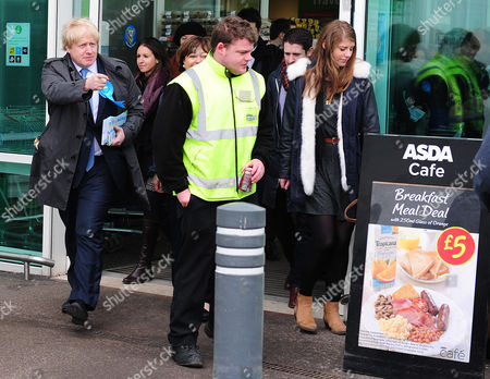 Boris Johnson (left) Visits Asda In Chandlers Ford Eastleigh To Join Maria Hutchings The Conservative Candidate For The Eastleigh By-election To Replace Chris Huhnes Seat. Chandlers Ford  UK  20/02/2013 Hampshire 2013.