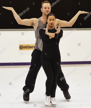 Hayley Tamaddon with Pro Dancing partner Daniel Whiston rehearse their Jai Ho routine during training for Dancing On Ice 2014