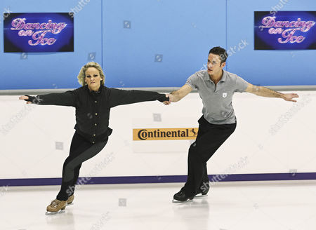 Stock Image of Gary Lucy with pro skating partner Katie Stainsby during training for Sundays Show