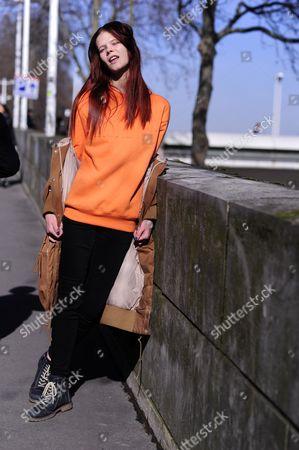 Stock Image of Model Off Duty Irina Kravchenko, Paris Street Style Fashion.