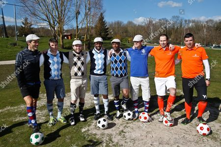 Stock Photo of From Left to Right : Canal   Journalist Dominique Armand and Herve Mathoux, President of the AFFG Romuald Pretot, Football player Sydney Govou, Footgolf Ambassador and Football player Sylvain Wiltord, french player Emmanuel Bocquet, netherland player Martijn van der Zwet, and Football player Roy Makaay