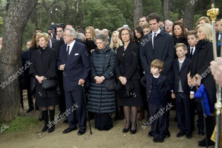 Stock Photo of Queen Sofia and Princess Cristina and Princess Elena and Crown Princess Letizia and Crown Prince Felipe and Princess Irene of Greece and Princess Tatiana of Greece and Prince Nikolaos of Greece and Prince Philippos of Greece and Princess Theodora of Greece and Denmark of Greece and Princess Cristina and Marie Chantal Miller and Princess Alexia of Greece and King of Greece Constantine II and Anne-Marie of Denmark and Crown Prince Pavlos of Greece and Marie-Chantal Claire.