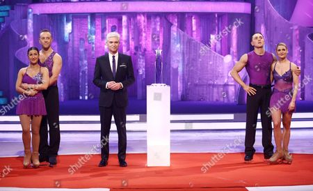 Ray Quinn and Maria Filippov, Hayley Tamaddon and Dan Whiston await the results from Phillip Schofield