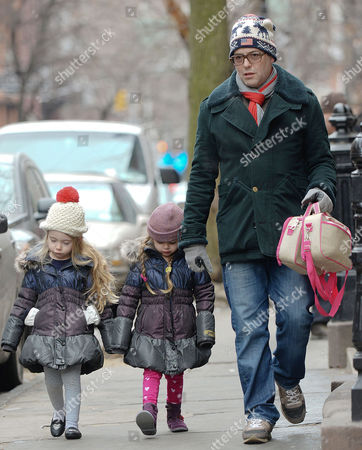 Matthew Broderick with daughters Marion Broderick and Tabitha Broderick Broderick