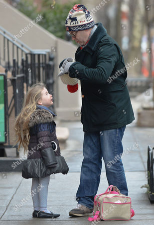 Editorial photo of Mathew Broderick takes his daughters Marion and Tabitha to school, New York, America - 07 Mar 2014