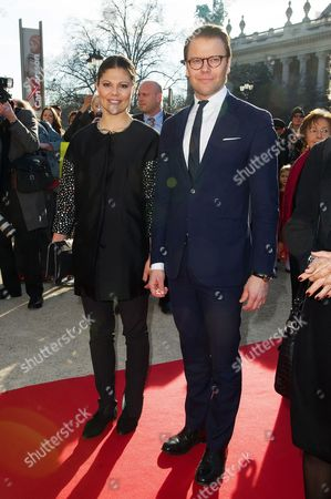 Crown Princess Victoria of Sweden and her husband Duke of Vastergotland Daniel Westling arrive at the opening the Contemporary Artist Carl Larsson exhibition at 'Petit Palais' in Paris