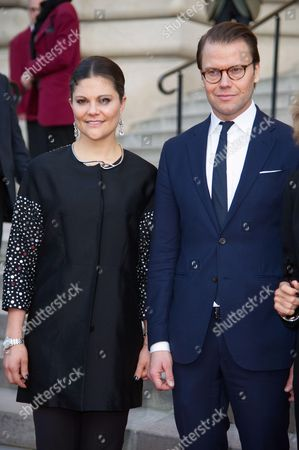 Crown Princess Victoria of Sweden and her husband Duke of Vastergotland Daniel Westling leave the opening the Contemporary Artist Carl Larsson exhibition at 'Petit Palais' in Paris