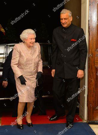 Queen Elizabeth II and Commonwealth Secretary General Kamalesh Sharma