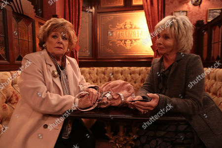 Ep 8316 - Wednesday 5 February 2014 Gloria Price, as played by Sue Johnston, makes digs at Rita Tanner, as played by Barbara Knox, during a meeting with Dennis and Ritchie. Angry rita leaves in a huff.