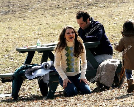 Keri Russell and Matthew Rhys with Keri Russell's daughter Willa Lou Deary during a break from filming 'The Americans'