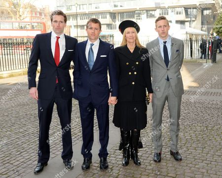 Lady Carina Fitzalan-Howard with sons Wilfred Frost, Miles Frost and George Frost