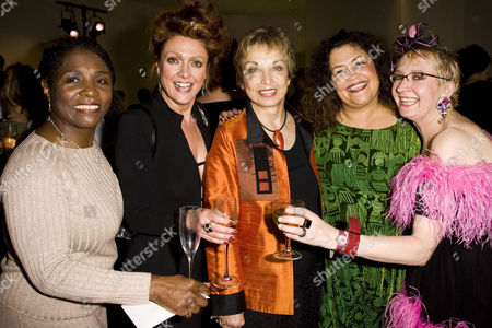 Miquel Brown (Power Woman), Samantha Hughes (Soap Star), Jeanie Linders (Writer/Producer), Amanda Symonds (Earth Mother) and Su Pollard (Rutland Housewife) attend the after party.