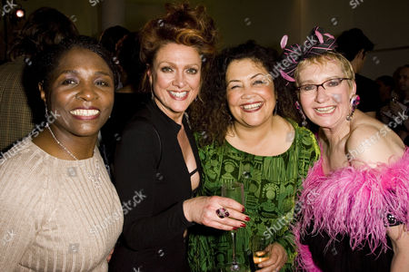 Miquel Brown (Power Woman), Samantha Hughes (Soap Star), Amanda Symonds (Earth Mother) and Su Pollard (Rutland Housewife) attend the after party.