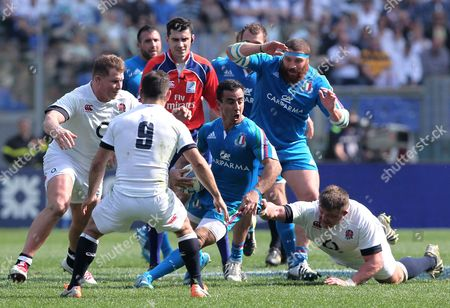 Luciano Orquera (I) in action during the rugby 6 Nations match Italy vs England played in the Olimpico Stadium in Rome