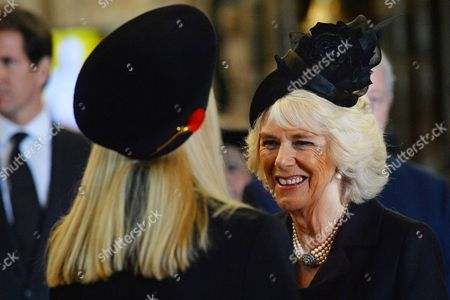 Camilla Duchess of Cornwall (R) speaks with Lady Carina Fitzalan-Howard (L)