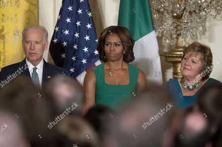 U.S. Vice President Joe Biden, first lady Michelle Obama, and Fionnuala O'Kelly, wife of Prime Minister Kenny