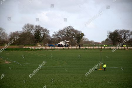 The scene of the helicopter crash site at Gillingham, which killed all 4 passengers
