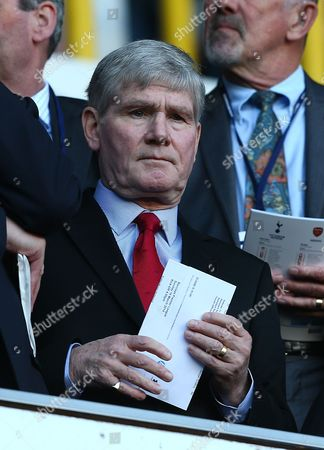 Former Arsenal player and assistant manager Pat Rice, currently recovering from cancer, in the stands