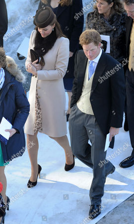 Arosa Switzerland. Wedding Of Laura Bechtolsheimer And Mark Tomlinson In Arosa Attended By William Harry And Kate. Harry And Kate Leave The Church Together Whilst William Goes Ahead With The Grooms Party.  .