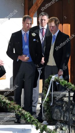 Arosa Switzerland. Wedding Of Laura Bechtolsheimer And Mark Tomlinson In Arosa Attended By William Harry And Kate. Princes William And Harry Have A Chat After The Service Outside The Church.  .
