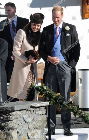 Arosa Switzerland. Wedding Of Laura Bechtolsheimer And Mark Tomlinson In Arosa Attended By William Harry And Kate. William And Kate After The Church Ceremony Outside The Church.  .