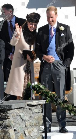Arosa Switzerland. Wedding Of Laura Bechtolsheimer And Mark Tomlinson In Arosa Attended By William Harry And Kate. William And Kate Wave To The Newly Weds After The Wedding.  .