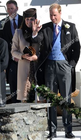 Arosa Switzerland. Wedding Of Laura Bechtolsheimer And Mark Tomlinson In Arosa Attended By William Harry And Kate. William And Kate Wave To The Newly Weds. Stephanie Schaerer 02/03/2013 00447878466804.