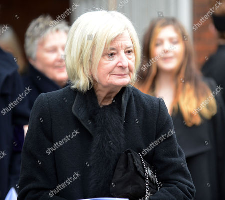 Stock Image of Annie Briers After The Service At Her Late Husband Actor Richard Briers Funeral At St.michael And All Angels Church Chiswick London.