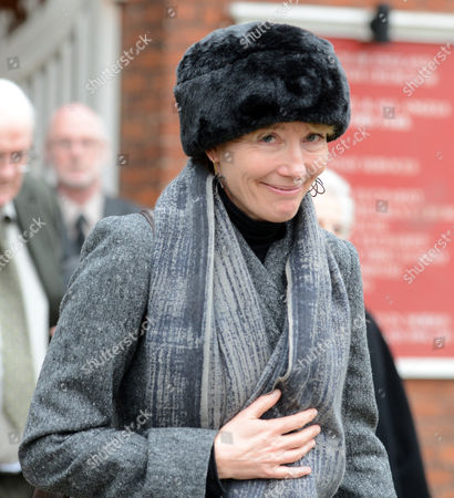Actress Emma Thompson Leaves The Church After Richard Briers Funeral At St.michael And All Angels Church Chiswick London.