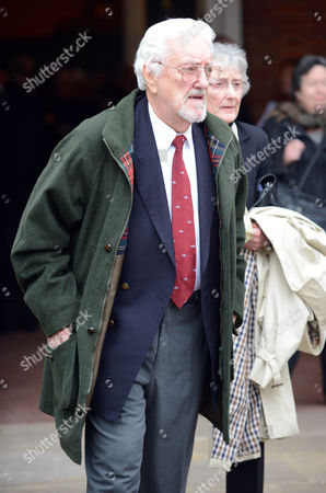 Stock Photo of Actor Bernard Cribbins Leaves The Church After Actor Richard Briers Funeral At St.michael And All Angels Church Chiswick London.
