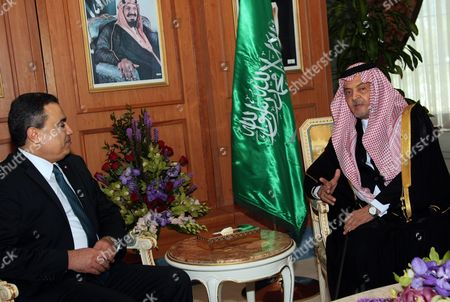 Saudian Foreign Minister Prince Saud al-Faisal and Tunisian Prime Minister Mehdi Jomaa in Riadh Conference Palace