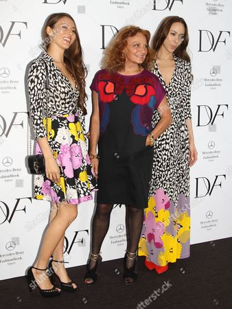 Stock Image of Jessica Michibata, Diane von Furstenberg and Angelica Michibata