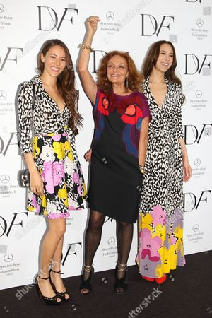 Stock Picture of Jessica Michibata, Diane von Furstenberg and Angelica Michibata