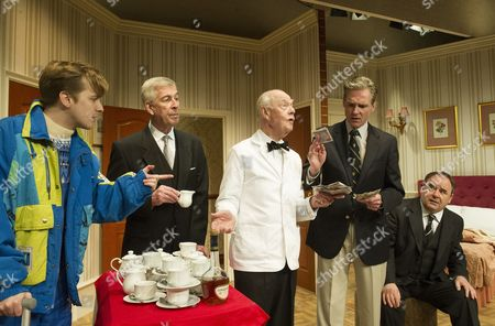 Ton Golding as Edward, Jeffrey Holland as the Manager, Ray Cooney as the waiter, Michael Praed as Richard,  Nick Wilton as George