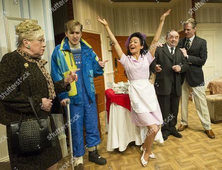 Jean Fergusson as Lily, Tom Golding as Edward, Kathryn Rooney as the waiter,  Nick Wilton as George, Michael Praed as Richard
