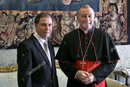 Archbishop Vatican Secretary of State Pietro Parolin meets with President of Malta George Abela