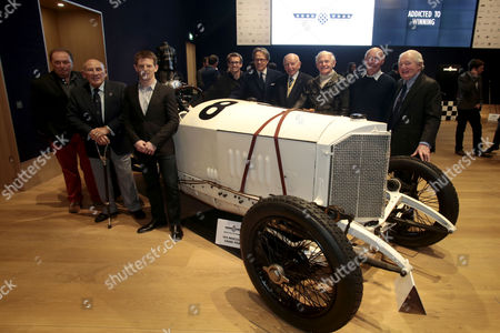 Stock Picture of l - r Jochen Mass, Sir Stirling Moss, Anthony Davidson, Kenny Brack, Lord Charles March, John Surtees, Sammy Miller, David Piper and Paddy Hopkirk.
