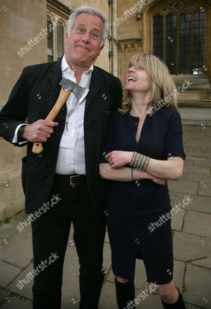 Paul Blezard and Rachel Johnson bury the hatchet after he was sacked by her on live TV from The Lady Magazine