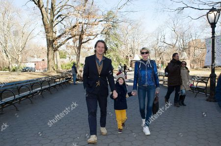 Kitin Munoz and his wife Princess Kalina of Bulgaria with their son Prince Simeon Hassan in Central Park