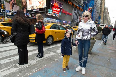 Princess Kalina of Bulgaria and son Prince Simeon Hassan in Time Square